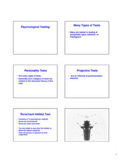 Many Types of Tests Psychological Testing