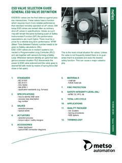 ESD VALVE SELECTION GUIDE GENERAL ESD VALVE …