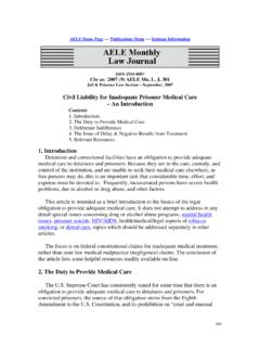 Civil Liability for Inadequate Prisoner Medical Care – An ...