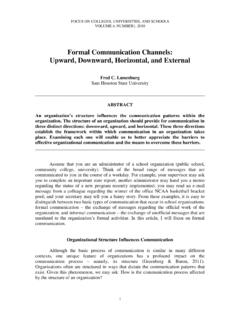 Formal Communication Channels: Upward, Downward ...