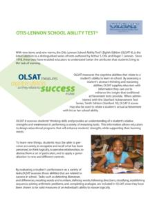 OTIS-LENNON SCHOOL ABILITY TEST®