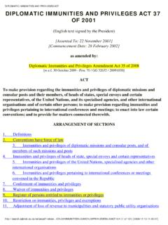 DIPLOMATIC IMMUNITIES AND PRIVILEGES ACT - South Africa