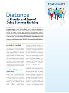 to Frontier and Ease of Doing Business Ranking