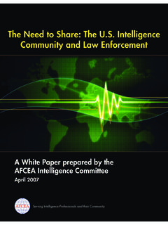 The Need to Share: The U.S. Intelligence Community and Law ...