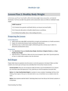 Lesson Plan 2: Healthy Body Weight - Human Kinetics