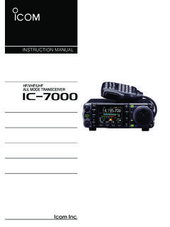 INSTRUCTION MANUAL - Icom
