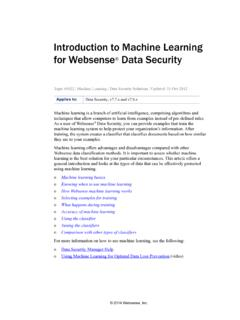 Introduction to machine learning - Forcepoint