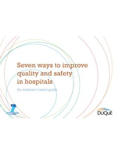 Seven ways to improve quality and safety in hospitals - …