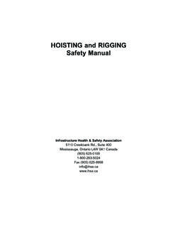 HOISTING and RIGGING Safety Manual - IHSA