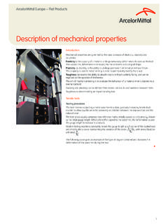 Description of mechanical properties - ArcelorMittal