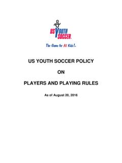 US YOUTH SOCCER POLICY ON PLAYERS AND PLAYING RULES