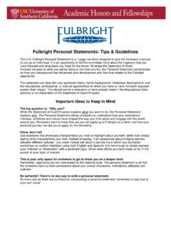 Fulbright Personal Statements: Tips & Guidelines - USC