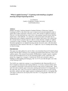 """What is applied learning?"": Exploring understandings of ..."