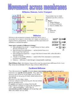 Diffusion, Osmosis, Active Transport