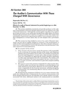 The Auditor's Communication With Those Charged …