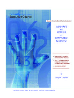 MEASURES METRICS In CORPORATE SECURITY