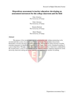 Dispositions assessment in teacher education: developing ...