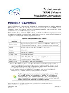 Installing TRIOS Software - TA Instruments