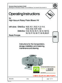 Operating Instructions - PTB Sales