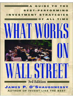 WHAT WORKS ON WALL STREET - csinvesting
