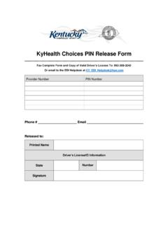 KyHealth Choices PIN Release Form - KYMMIS