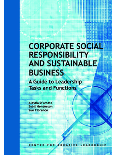 Corporate Social Responsibility and Sustainable …