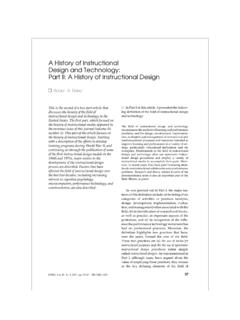 A History of Instructional Design and Technology: …