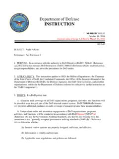 Department of Defense INSTRUCTION