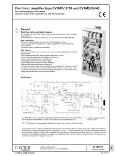 Electronic amplifier type EV1M2-12/24 and ... - HAWE …