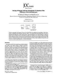 Drying of Organic Solvents: Quantitative …