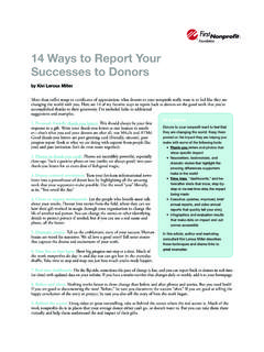 14 Ways to Report Your Successes to Donors