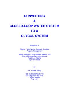 CONVERTING A CLOSED-LOOP WATER SYSTEM …
