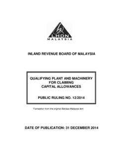 INLAND REVENUE BOARD OF MALAYSIA QUALIFYING PLANT …