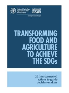 TRANSFORMING FOOD AND AGRICULTURE TO ACHIEVE THE …