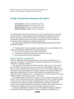 Freight Transportation Planning and Logistics