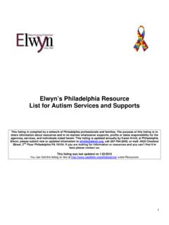Elwyn's Philadelphia Resource List for Autism Services and ...