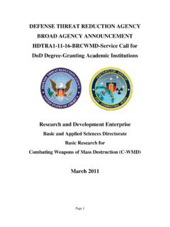 DEFENSE THREAT REDUCTION AGENCY BROAD AGENCY …