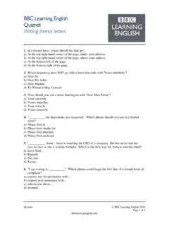 BBC Learning English Quiznet Writing formal letters