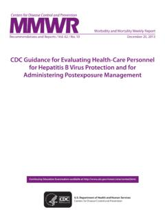 CDC Guidance for Evaluating Health-Care Personnel for ...