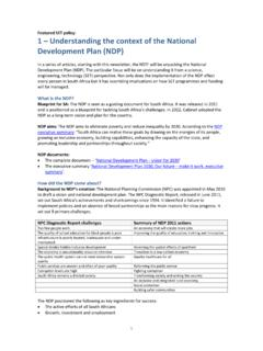 SET 1 the context of the National Development Plan (NDP)