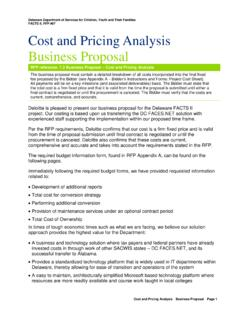 Cost and Pricing Analysis - State of Delaware