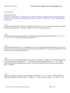 BIOSTATS 540 Practice Problems CI and …