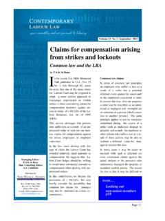 Claims for compensation arising from strikes and lockouts