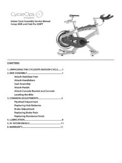 Indoor Cycle Assembly Service Manual