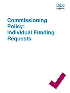 Commissioning Policy: Individual Funding Requests