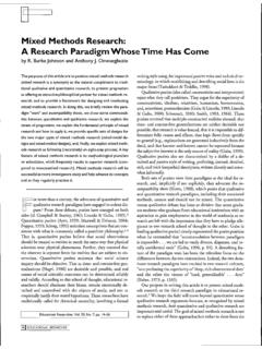 Mixed Methods Research: Research Paradigm Whose Time …