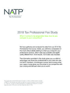2018 Tax Professional Fee Study - natptax.com