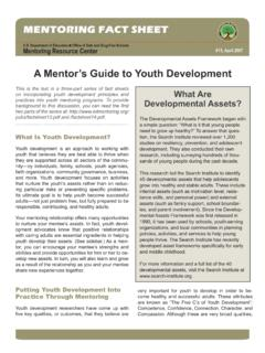 A Mentor's Guide to Youth Development - Education …