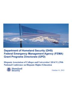 Department of Homeland Security (DHS) Federal Emergency ...