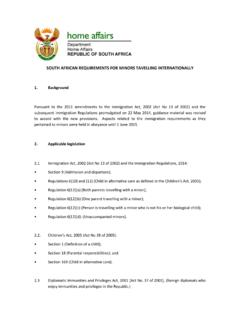 SOUTH AFRICAN REQUIREMENTS FOR MINORS …